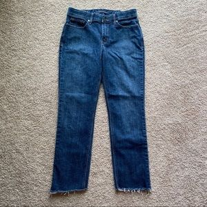 Levis 525 perfect waist straight jeans fray hem 8